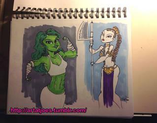 She-Hulk and Slave Leia by JoeFoo