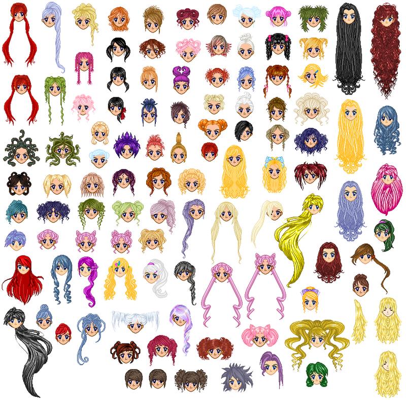 SSMU Mermaid Melody Hair Template by RandomYori on DeviantArt