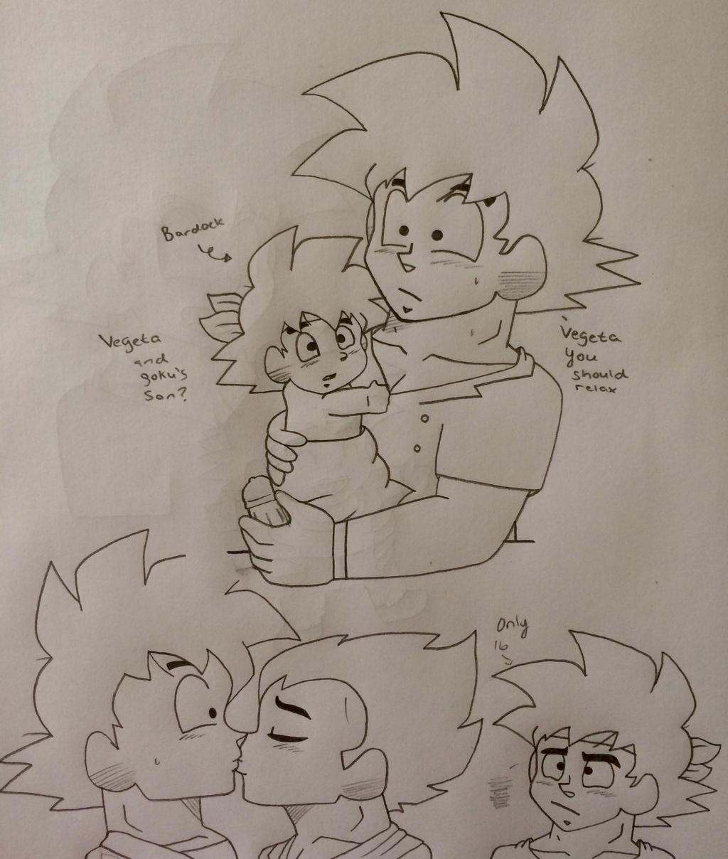 bardock and his loving parents vegeta and goku by Ashartz123