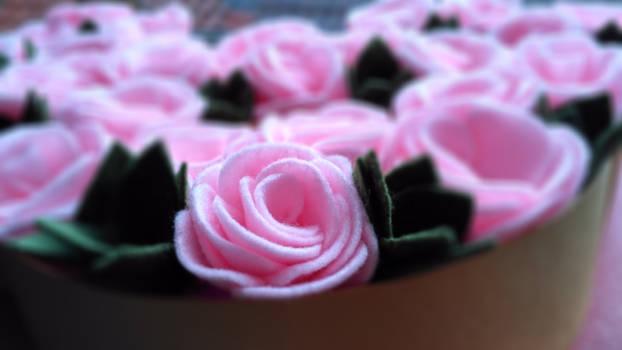 felt roses and succulent