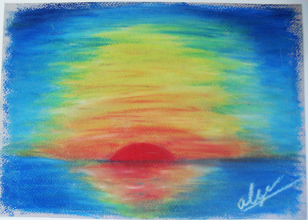 how to draw a sunset with oil pastels