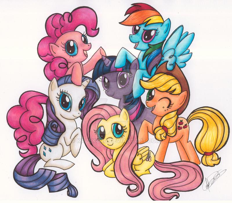 Pony Pile Party by Kazekuro