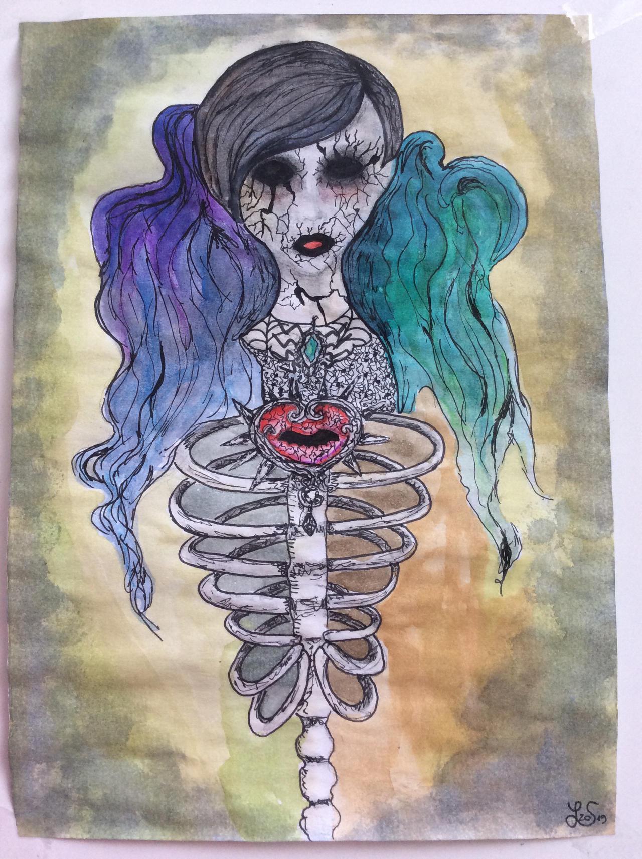 Strange pastel goth/ creepy cute Skullbeing