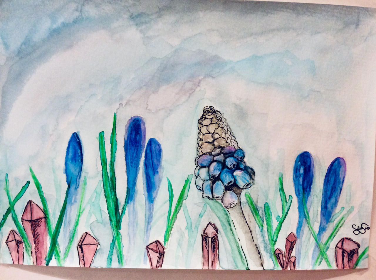 Random watercolor flower scene