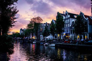 Street of Amsterdam at dusk