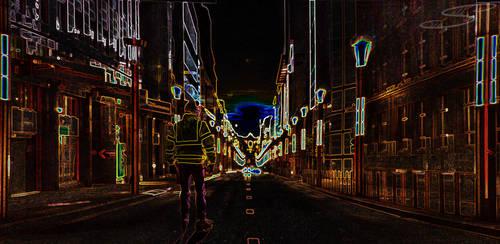 Neon Light Roller Cityscape