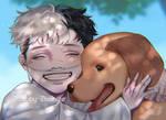 [OC] Baby Haiko with puppy