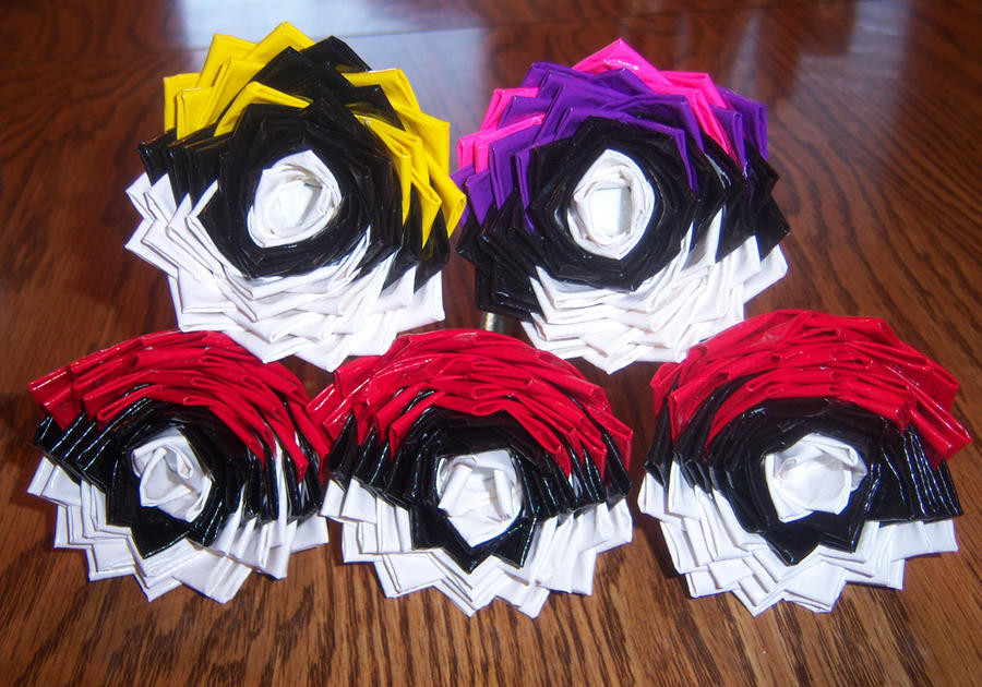 Pokemon Duct Tape Flower Pens by LishaChan
