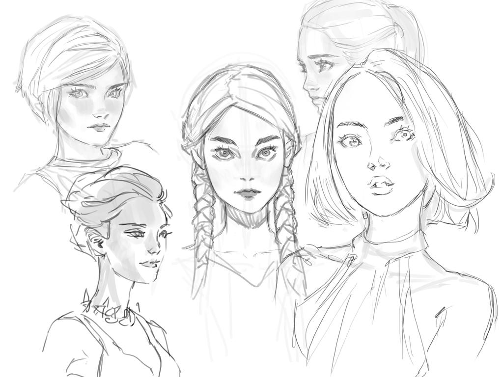 Line Drawings From D Models : Sketching faces by medders on deviantart