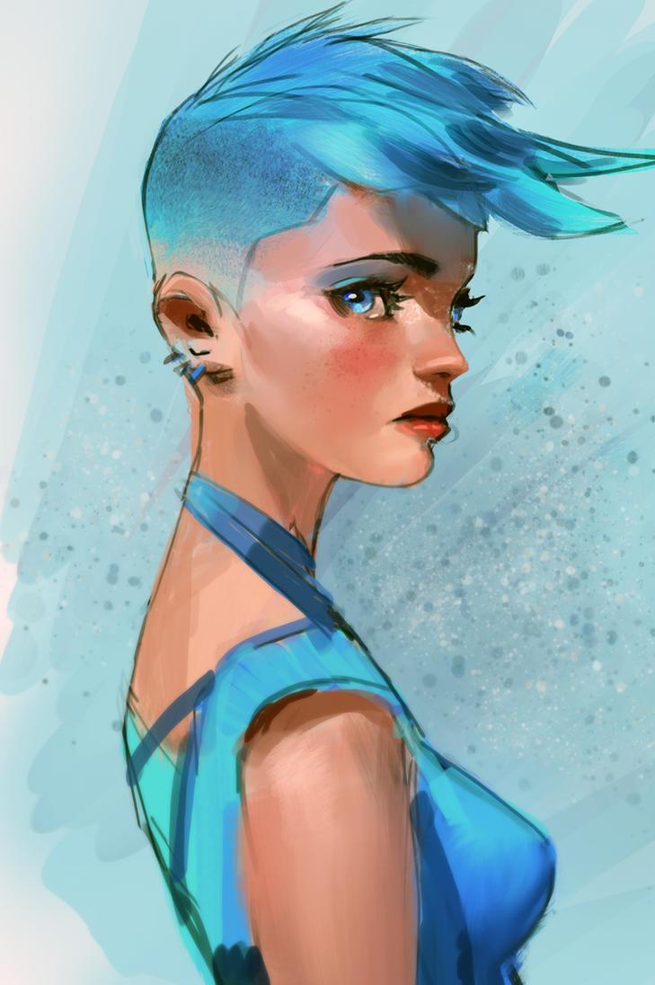 blue hair high res by medders on deviantart