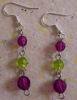 Pink and Green Danglers