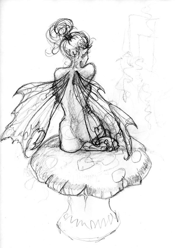 Mushroom fae by goddessartist on deviantart for Fairy on a mushroom drawing