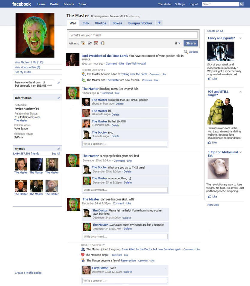 The Master's Facebook Page by The-Hellish-Gnome