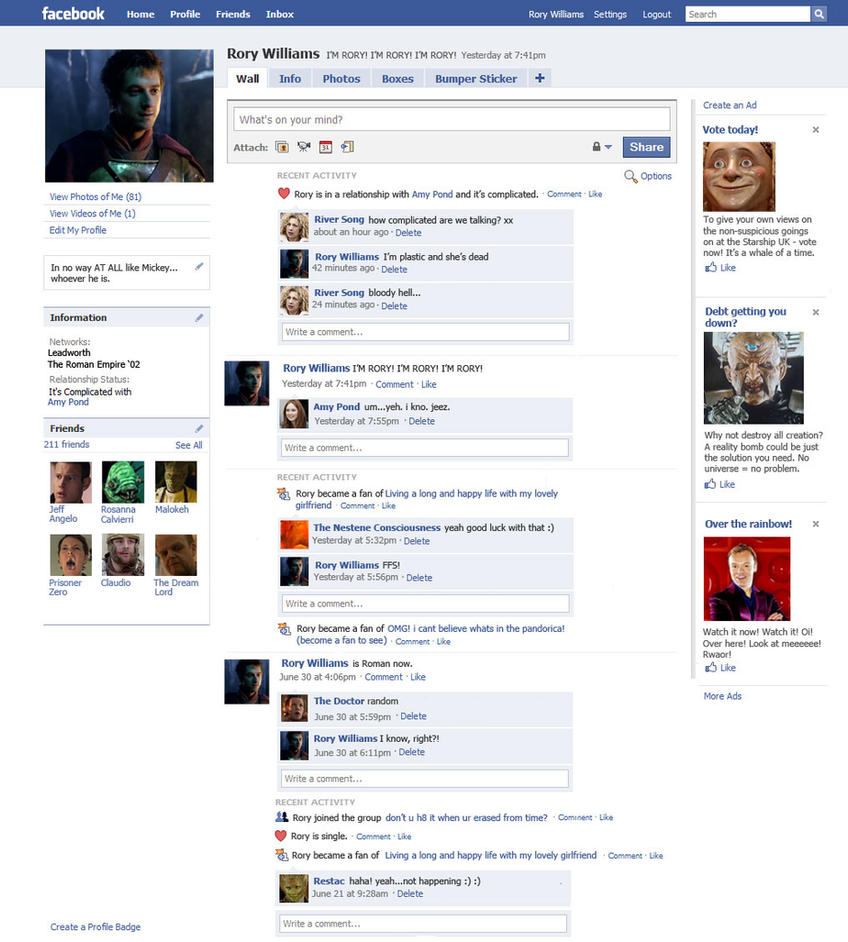 Rory Williams' Facebook Page by The-Hellish-Gnome