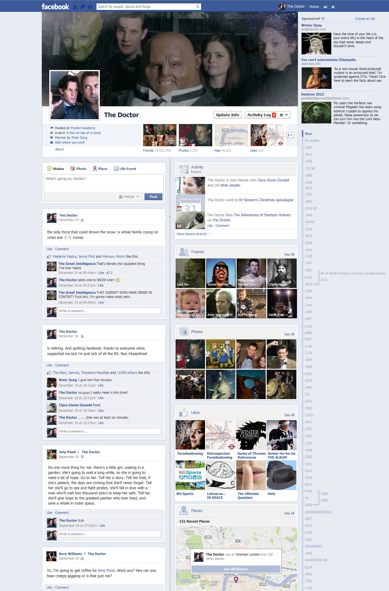 The Doctor's Facebook 3 (Timeline) by The-Hellish-Gnome
