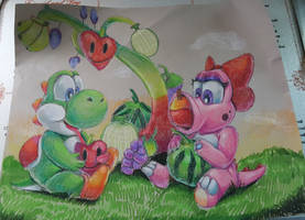 Art trade Yoshi fruits by HG-The-Hamster