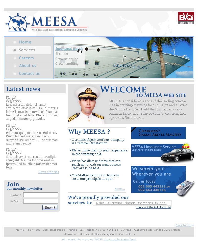 MEESA Web site layout by kono