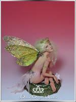 Golden Cicada Fairy OOAK Sculpture by bornbrightdolls