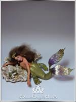 Midora Golden Mermaid OOAK Sculpture by bornbrightdolls