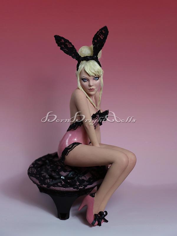 Lisa-Playmate Bunny PinUp OOAK Sculpture by bornbrightdolls