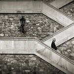 man + lamp + stairs