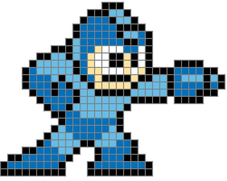 8 Bit Megaman Colored Grid