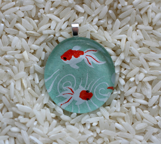 Two Goldfish Pendant by BlueSkyArts