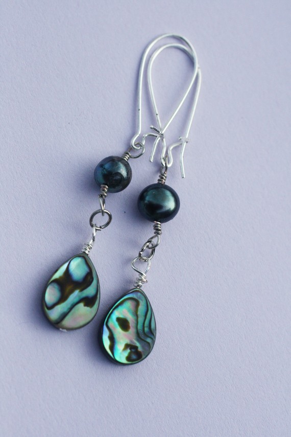 Abalone and Pearl Earrings by BlueSkyArts