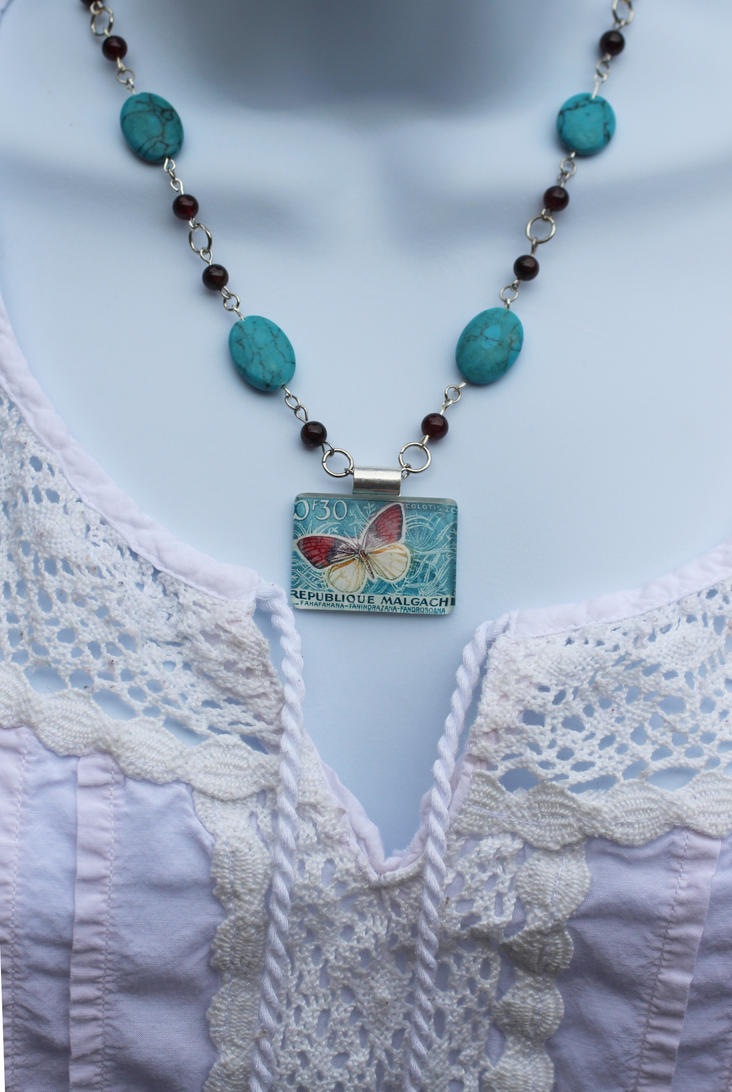 Butterfly Vintage Stamp Necklace by BlueSkyArts