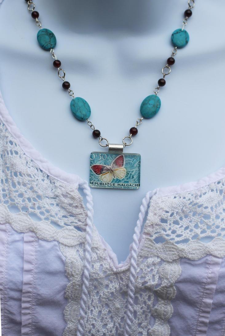 Butterfly Vintage Stamp Necklace by BlueSkyArts
