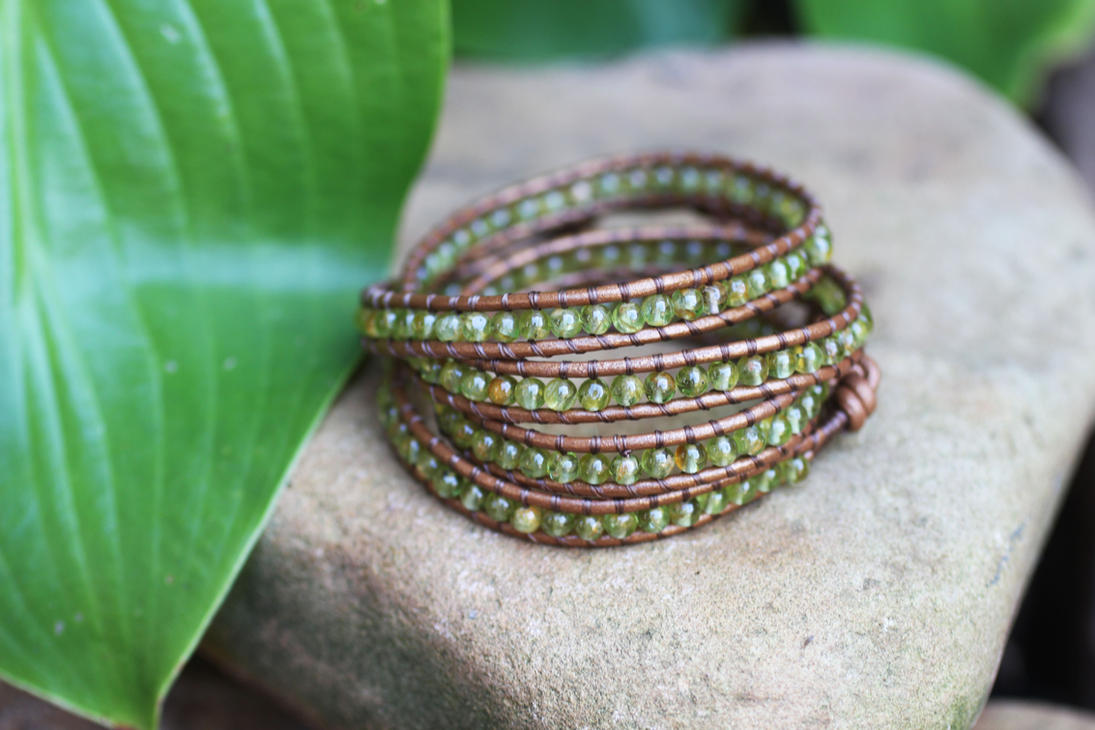 Peridot Wrap Bracelet by BlueSkyArts