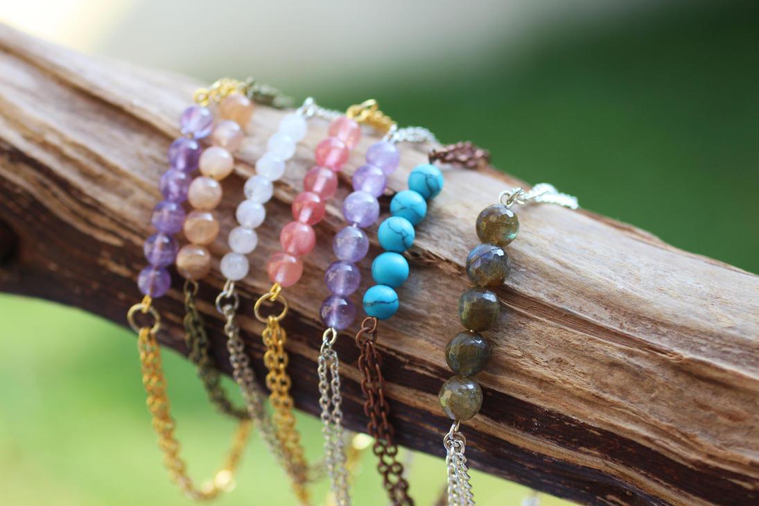 Lovely Layering Gemstone Bracelets by BlueSkyArts