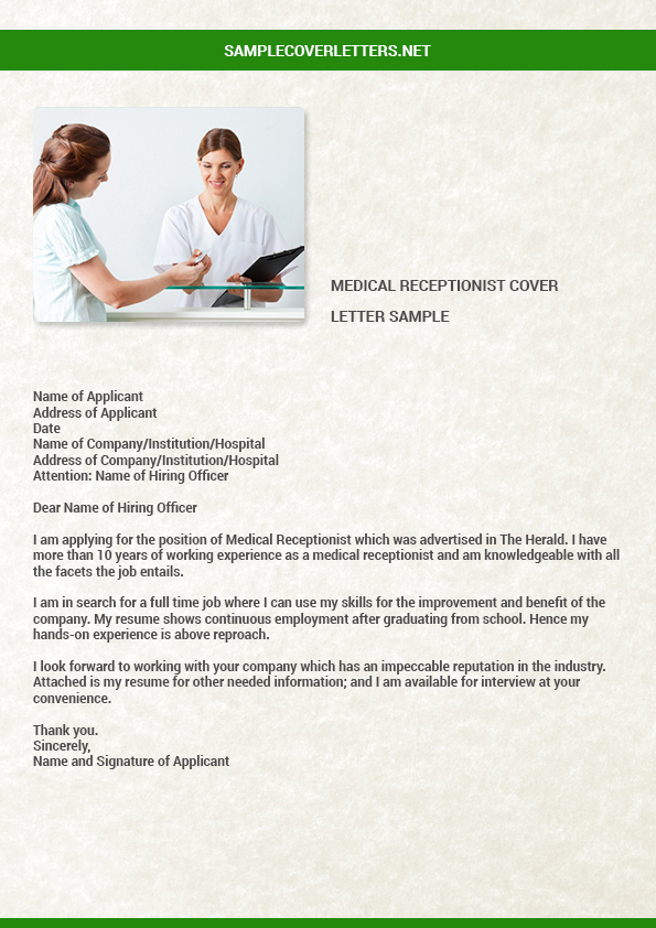 Medical Receptionist Cover Letter Sample By Robertinman12 On Deviantart