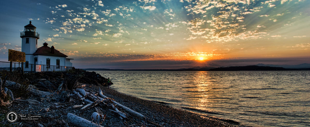 Panorama of Panorama of Alki Lighthouse At Sunset by SilentMobster42