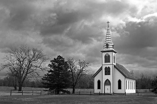White-Country-Church-by-Mark-Van-Scyoc-black-and-w by Johnnydeca