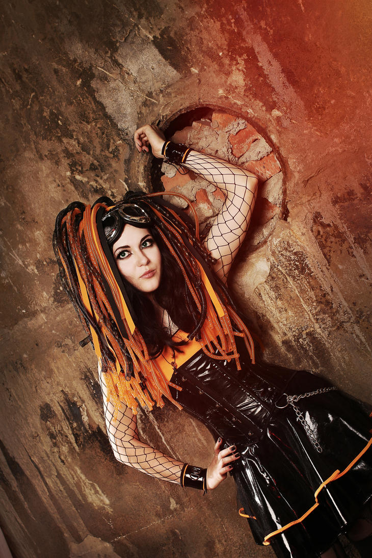 Orange cybergoth by mysteria-violent