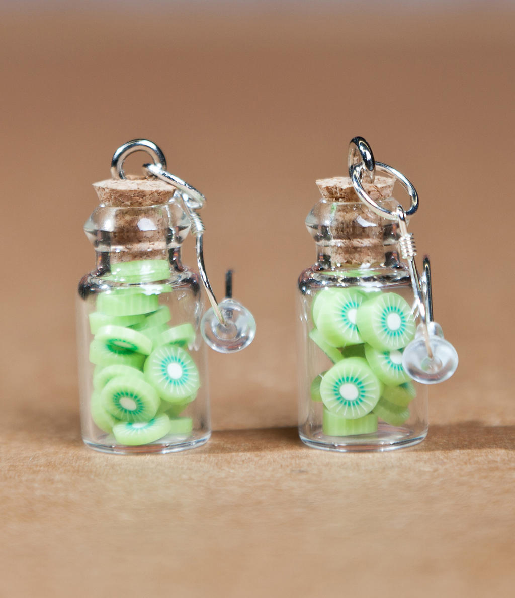 Bottled Kiwi Earrings by SweetSugaRush