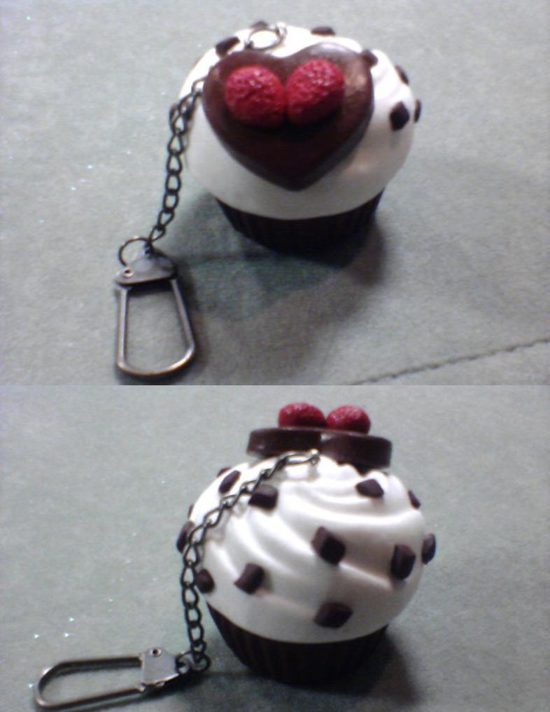 Chocolate Chip Ice Cream Cupcake Key Chain by SweetSugaRush