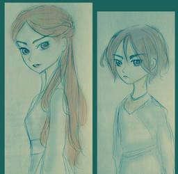 Sketch - Arya and Sansa Stark v02 by FuranBi