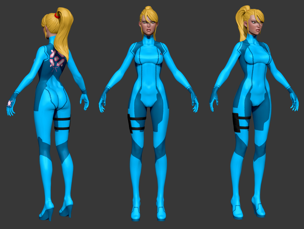 Samus Zero Suit Sculpt Color WIP by iononemillion