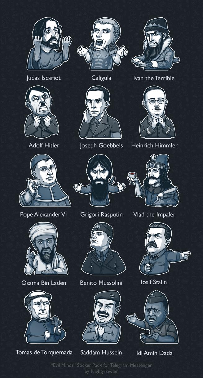 Evil Minds Telegram Sticker Pack by nightgrowler