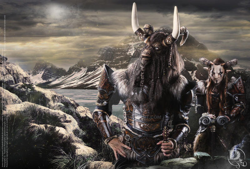 Fantasy Celtic Minotaur and Faun by Deakath