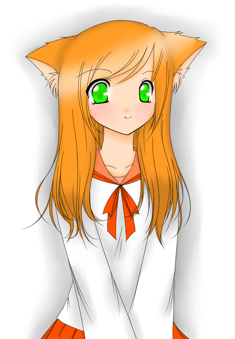 Anime Cat Girl Outline