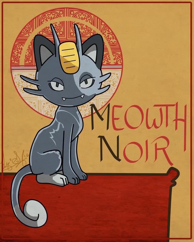 Meowth noir by lizspit