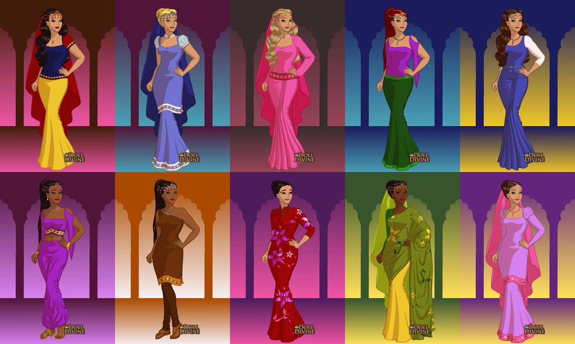 Disney Princesses in Saris by ArielxJim08 on DeviantArt