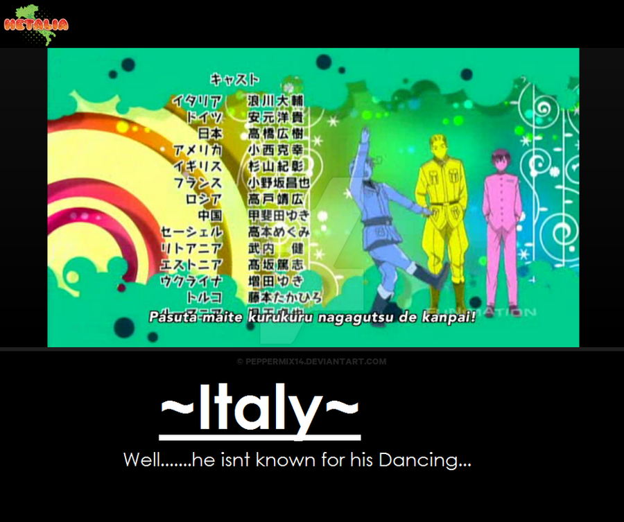 Hetalia: Beautiful World- Italy's dancing by peppermix14 on DeviantArt