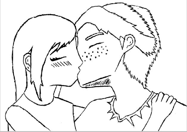 Line Art Kiss : Nodxreader kiss line art by freelance writer on deviantart