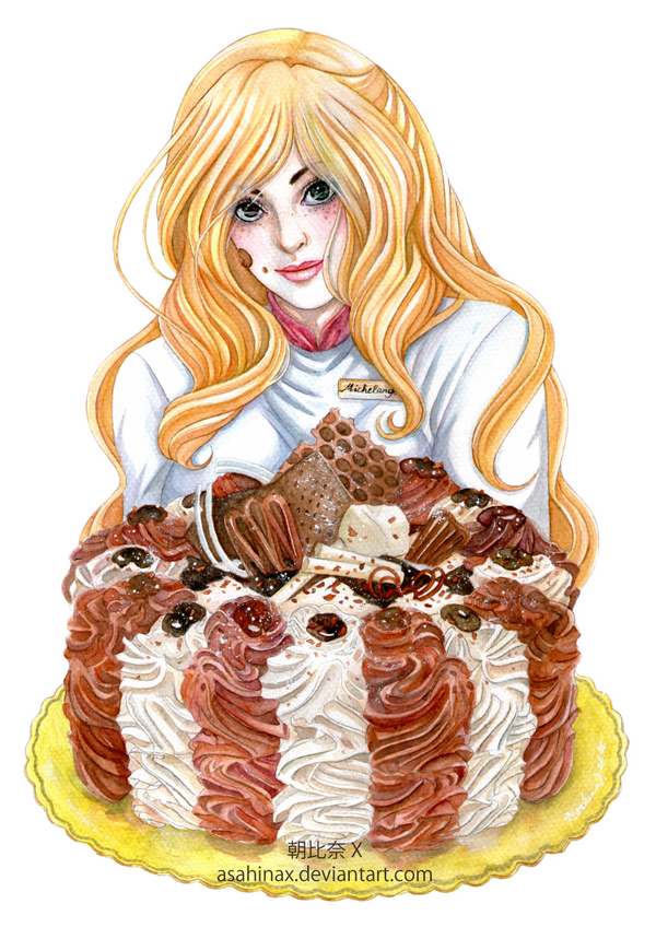 Michelangela with Alice in Wonderland Cake by AsahinaX