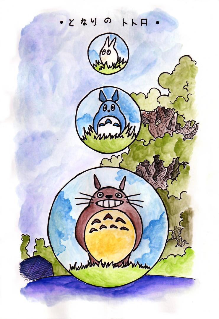 My neighbour Totoro, postcard by watashi994