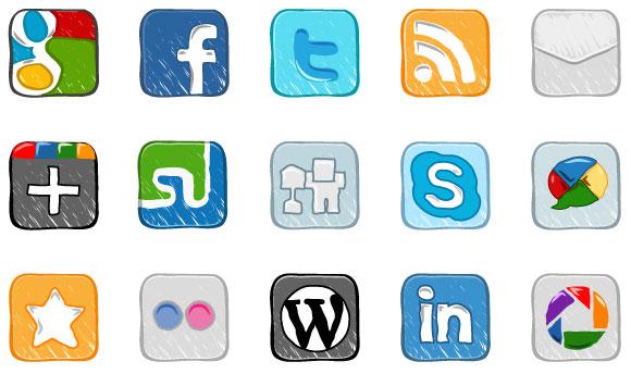 Hand Drawn Social Media Icons